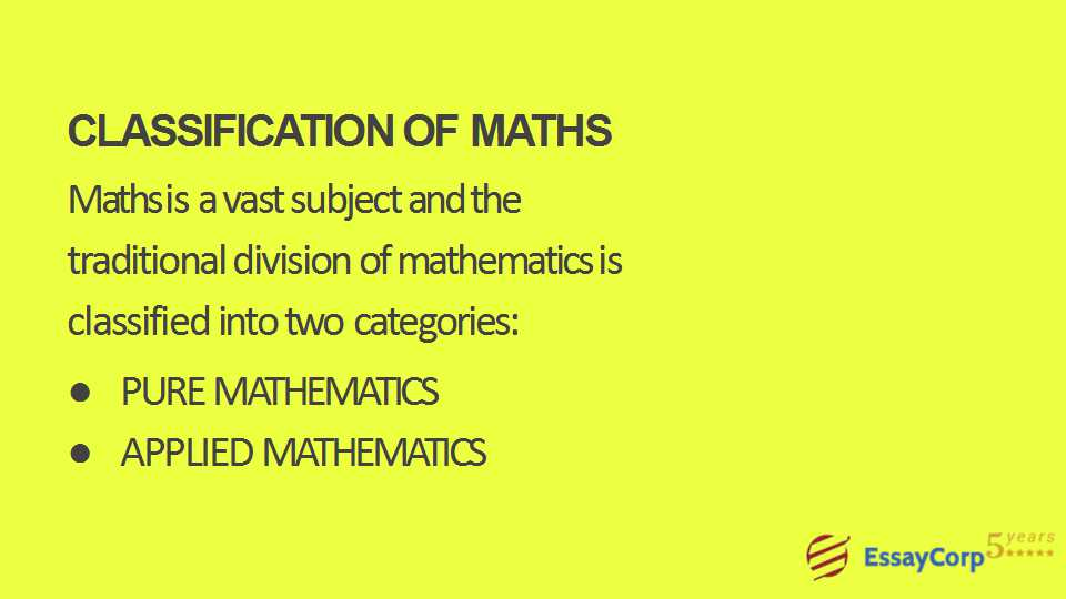 best online math assignment help homework help from essaycorp  classification of math